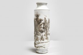 Chinese Relief And Slip Decorated Porcelain Salt Glaze