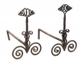 Pair Renaissance Style Wrought Iron Andirons. Height