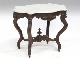 Victorian Carved Walnut Marble Turtle Top Center Table,