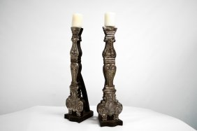 Pair Spanish Colonial Style Carved Wood And Repousse