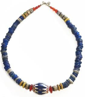 ANTIQUE VENETIAN TRADE GLASS BEAD NECKLACE WITH A