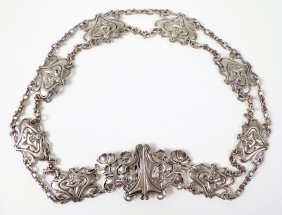 A Ladies Sterling Silver Art Nouveau Belt, Possibly