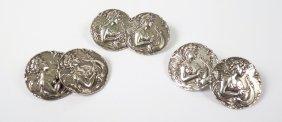 A Set Of Six Sterling Silver Art Nouveau Buttons, A
