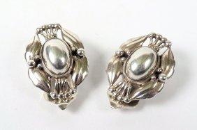 A Pair Of Sterling Silver Earrings By Georg Jensen,