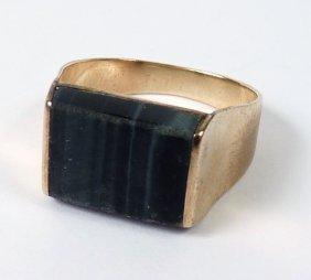 A Gentleman's Gold Hawkseye Signet Ring, C.1970, A