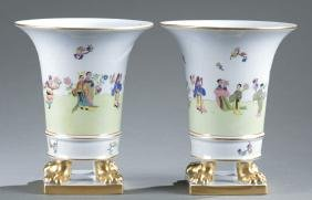 "Pair Of Herend ""ming"" Footed Vases."