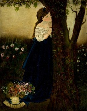 Late 19th Century Painting Of Girl Behind Tree.
