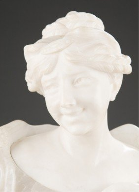 Victorian Alabaster And Marble Bust Of A Female.