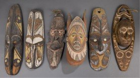 Group Of Six Papua New Guinea Masks.