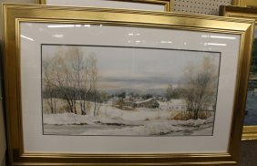 Carol Sebold Watercolor On Paper Landscape.