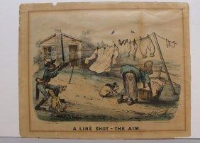 2 Currier & Ives: A Line Shot: Aim & Recoil