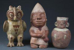 3 Pre Columbian Style Vessels.