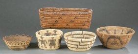 Group Of 5 Native American Pueblo Baskets.