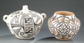 2 Pieces Of Acoma Pottery, One Signed.