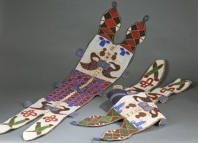2 African Beaded Double Lizards. 20th Century.