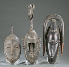 3 African Masks. 20th Century.