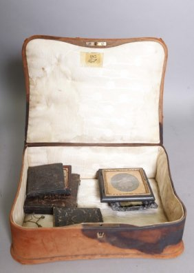 6 Items: Daguerro- Ambro-tintypes, Painted Case