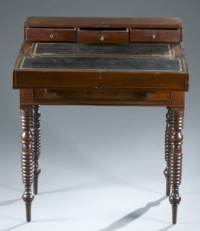 American Spindle Leg Flip Top Desk, 19th C.