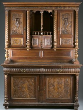 German Style Carved Wood Sideboard, 20th Century.