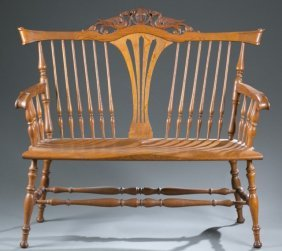 Carved Oak Settee, Continental, 19th / 20th C.