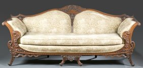 Chinoiserie Carved Wood Sofa, 20th Century.
