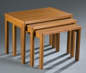 3 Danish Mid-century Modern Nesting Tables.