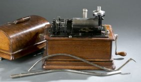 Edison Phonograph With Painted Metal Horn.