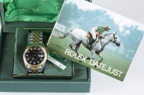 Rolex Two Tone Diamond Datejust Men's Watch.