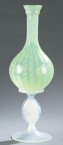 Opalescent Vaseline Art Glass Bottle Vase.