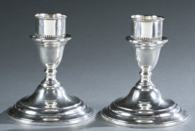 Pair Of Sterling Weighted Candle Holders.