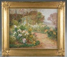 E. H. Cauchois, Cottage Garden, O/c