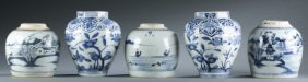 Group Of 5 Chinese Export Blue And White Jars.