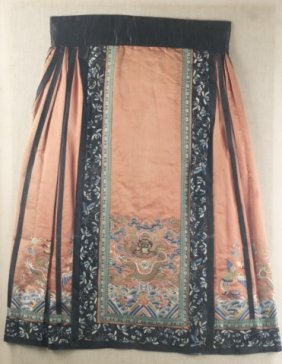 Chinese Embroidered Skirt W/frame.