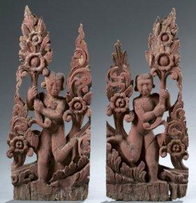 Pair Of Thai Temple Decorations.
