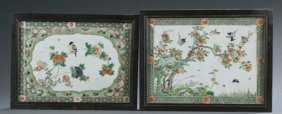 Pair Chinese Enamel Painted Porcelain Plaques.