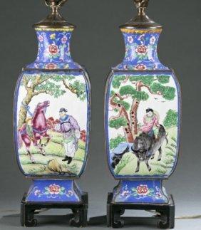 Pair Of Chinese Enameled Vase Lamps.