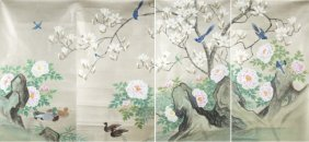 Group Of 4 Sequential Chinese Wallpapers.