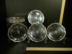 Set Of 12 Sterling Silver Bread Plates