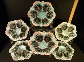 6 Majolica Oyster Plates