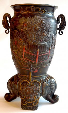 A Late C19th Japanese Meiji Period Bronze Vase With