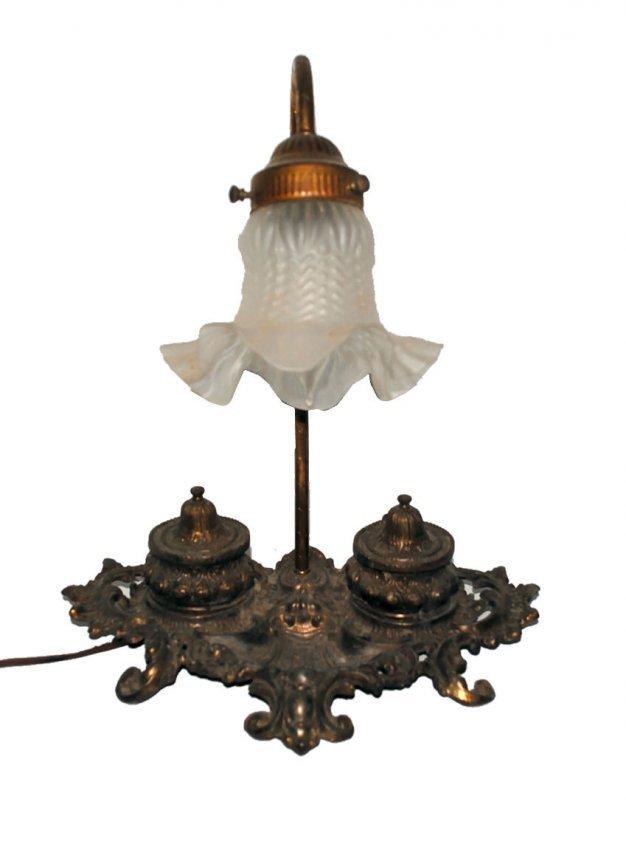 Antique Brass Gilbert Inkwell Lamp Lot 23