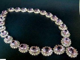 Royal 137ct Natural Fine Gem Kunzite Diamond Necklace