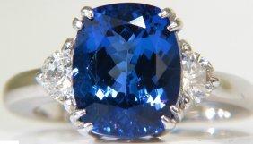 4.33ct Tanzanite Diamond Ring Half Moon Sides Vs A+