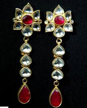22kt 9.00ct Natural Ruby Diamond Dangle Earrings Moghul