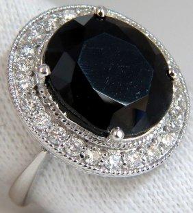 13.04ct Natural Black Sapphire Diamonds Ring 14kt