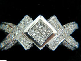 1.00ct Classic Princess Cluster & Rounds Crossover Ring