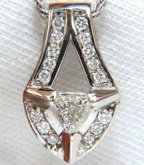 .73ct Trilliant Diamond Pendant 14kt Weave Chain Raised