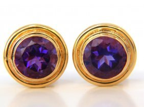 14kt 10.05ct Natural Vivid Purple Amethyst Stud