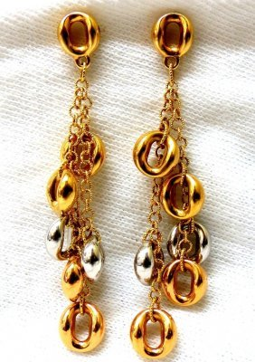 18kt Gold Linked Circles & Chains Dangle Earrings