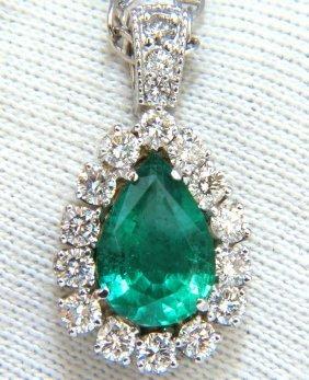 4.57ct. Natural Pear Zambia Green Emerald Diamonds